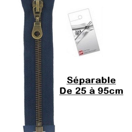 Fermeture eclair 40cm bleu marine séparable pour blouson de la marque eclair-prestil z19