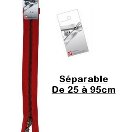 Fermeture eclair 45cm rouge séparable pour blouson de la marque eclair-prestil z19
