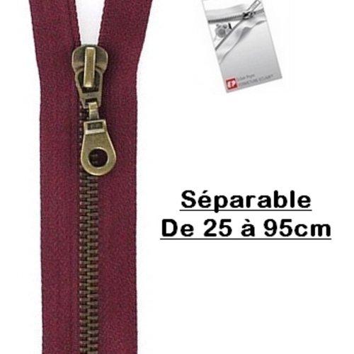 Fermeture eclair 55cm bordeaux séparable pour blouson de la marque eclair-prestil z19