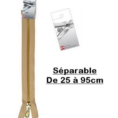 Fermeture eclair 45cm beige antilope séparable pour blouson de la marque eclair-prestil z19