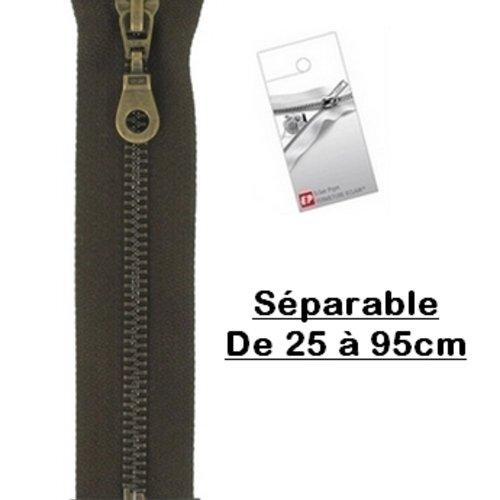 Fermeture eclair 75cm marron foncé brou de noix séparable pour blouson de la marque eclair-prestil z19