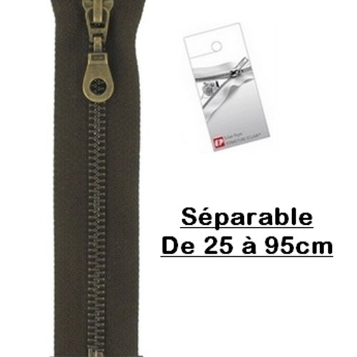 Fermeture eclair 85cm marron foncé brou de noix séparable pour blouson de la marque eclair-prestil z19