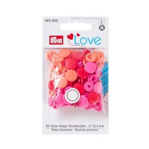 Boutons pression prym love assortiment de rond rouge, orange, rose prym 393 002