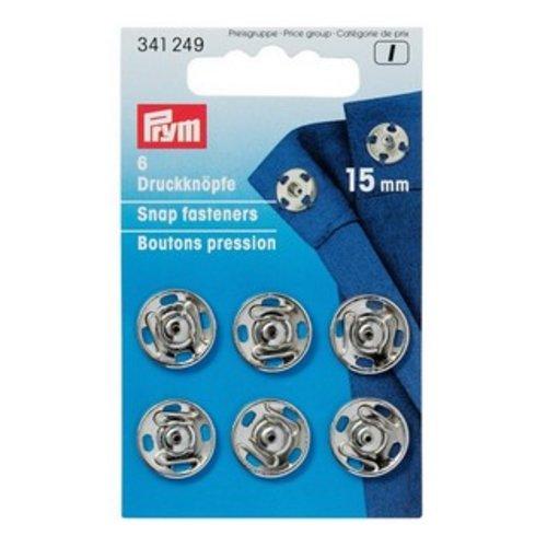 6 boutons pression à coudre argent 15 mm - prym  341 249