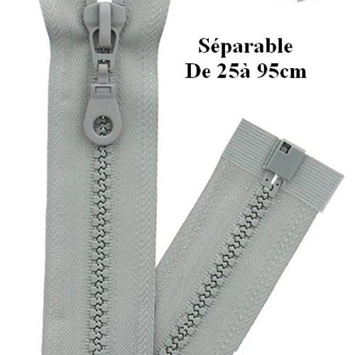 Fermeture eclair 30cm gris séparable pour blouson de la marque eclair-prestil z54.