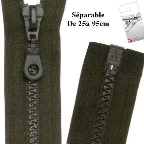 Fermeture eclair 50cm kaki séparable pour blouson de la marque eclair-prestil z54.