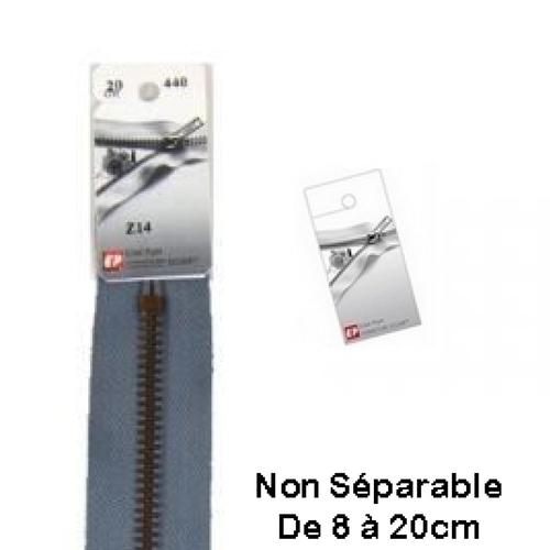 Fermeture eclair métal grise 18cm non séparable pour jean's de la marque eclair prym z 14