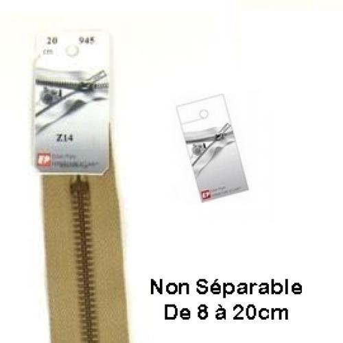 Fermeture eclair métal beige foncé 8cm non séparable pour jean's de la marque eclair prym z 14