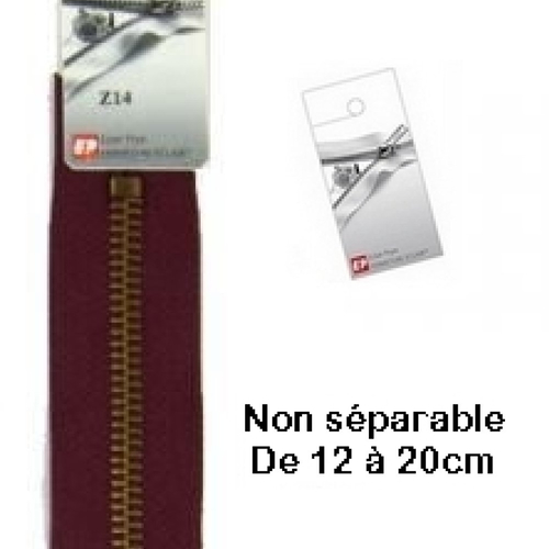 Fermeture eclair métal bordeaux 15cm non séparable pour jean's de la marque eclair prym z 14