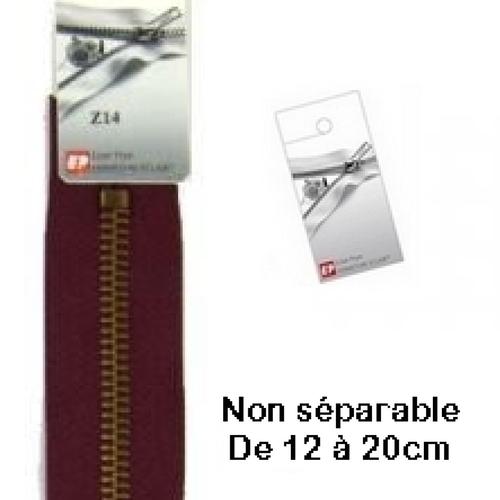 Fermeture eclair métal bordeaux 18cm non séparable pour jean's de la marque eclair prym z 14