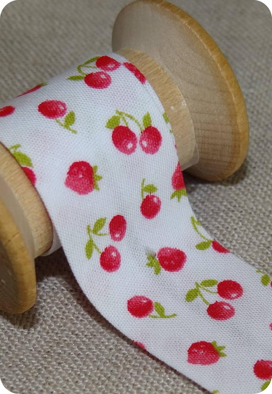 Biais cerise et fraise rouge et blanc