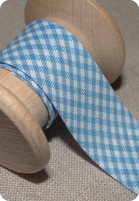 Biais vichy bleu layette,  largeur 20 mm