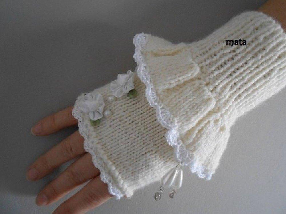 mitaines d'hiver laine ,dentelle tricotées/moufle laine/gants de SMS/mitaines femme/manchette crochet tricot