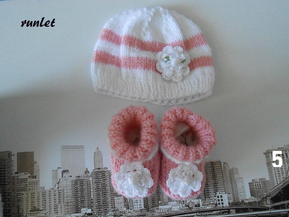 Ensemble bébé,vêtements bonnet  0-1mois tricoté main chaussons,cadeau