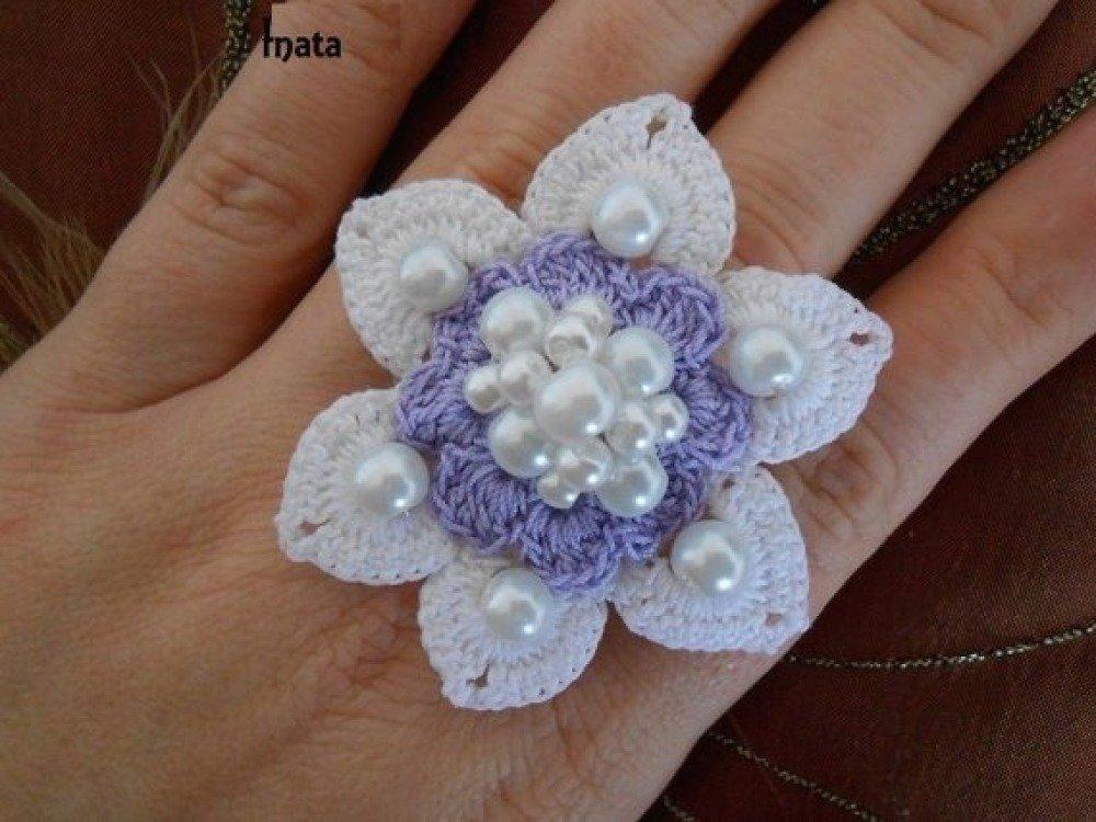 Browse bague au crochet, bijoux fleurs femme/bijoux fait main