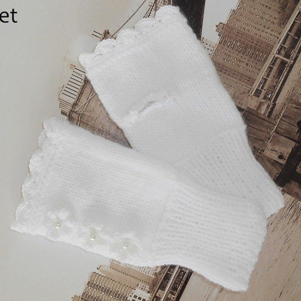 mitaine laine blanches tricotées pour Femme