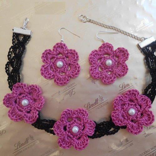Bijoux au crochet, choker noir fleur en dentelle au crochet, boucles d'oreilles fleurs