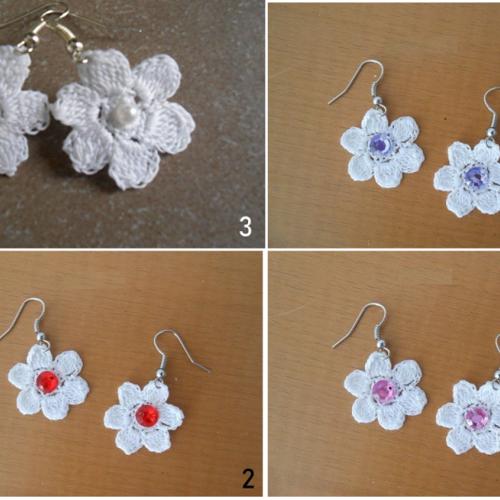 Boucles d'oreille fleur au crochet.