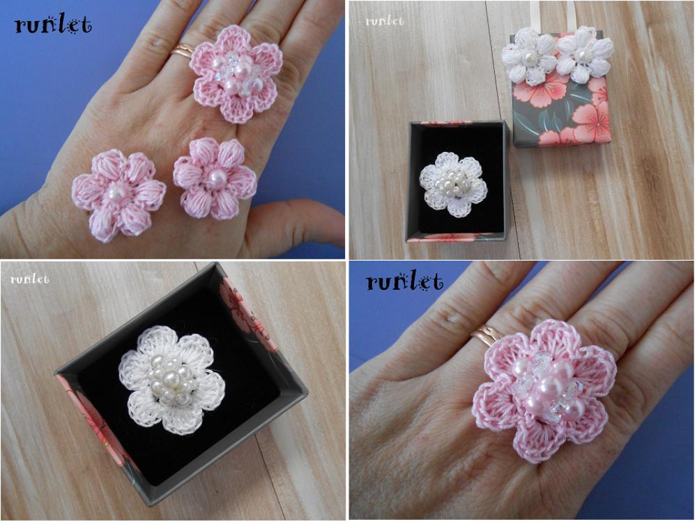clip boucle d'oreille fleur, Parure de bijoux au crochet , bague crochet, fleur clips