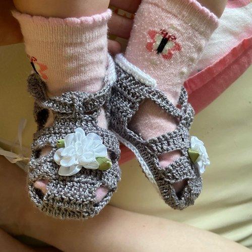 Sandales  bébé 3 mois au crochet