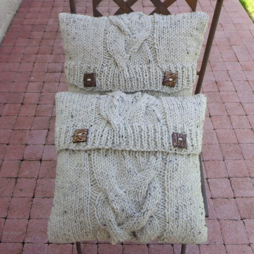 Deux coussins irlandais 40x40cm,beige moucheté,grosse laine acrylique,coussin+housse,grosse torsade,déhoussable,maison,ryrysecréations,