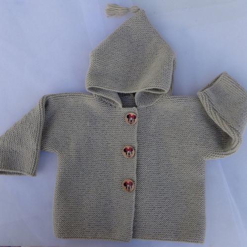 Manteau à capuche fille,taille 2 ans 24 mois,tricoté main,laine acrylique,beige,