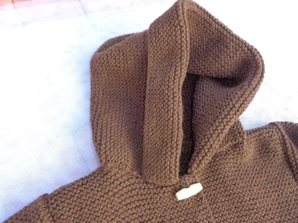 Manteau à capuche 12/18 mois,coloris marron,laine acrylique,tricoté main