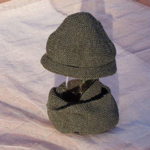 Bonnet et snood double garçon,2/3 ans,laine acrylique gris anthracite,