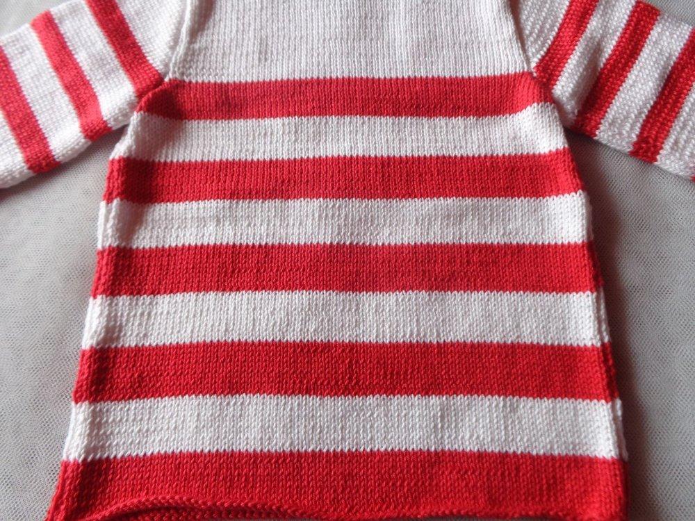 Pull bébé fille,24 mois,tricoté en fil coton,blanc,rouge,rayures,printemps,été,cadeau anniversaire,fêtes,tricoté main,