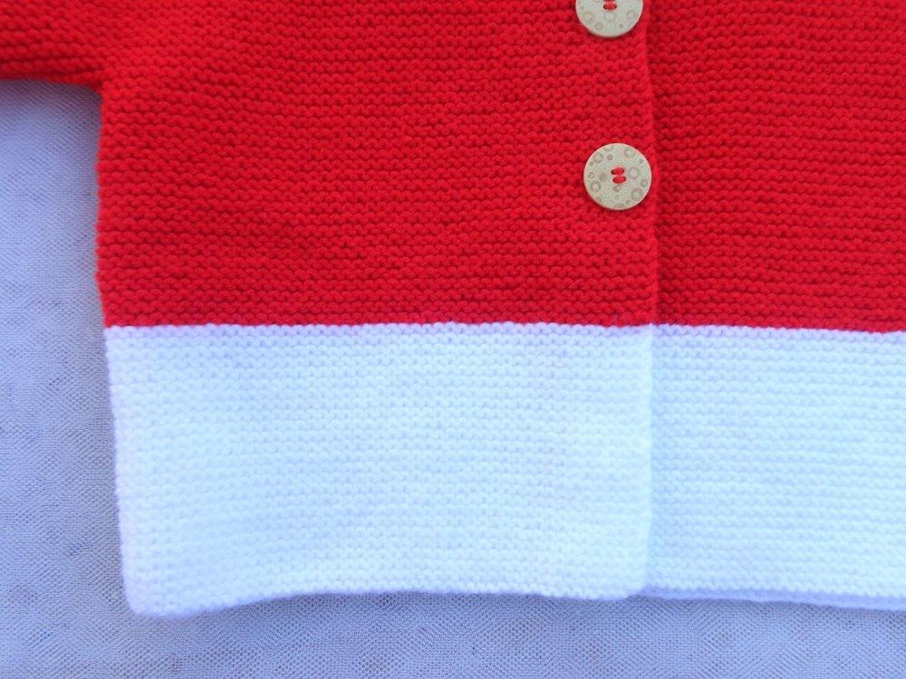 Gilet capuche unisexe,enfant,4 ans,rouge,blanc,laine acryilque
