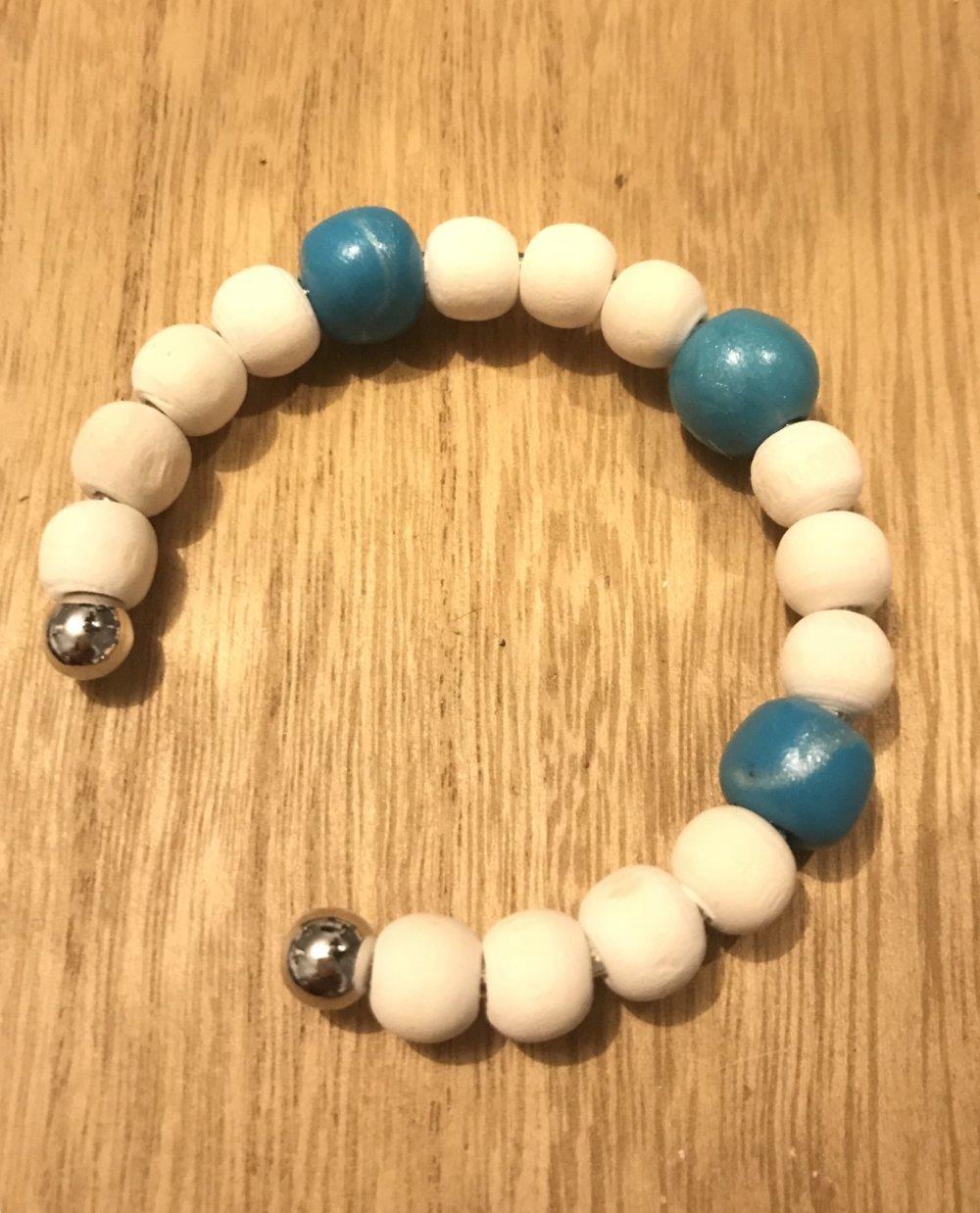 NATUREL /Turquoise bracelet perles en  bois