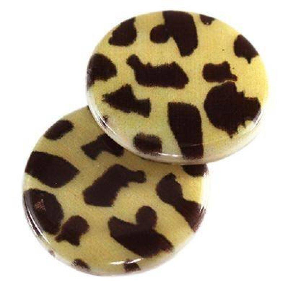 2 Perles nacre Ronde motif guépard 20mm