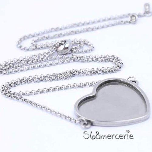Support collier coeur pour cabochon 20mm