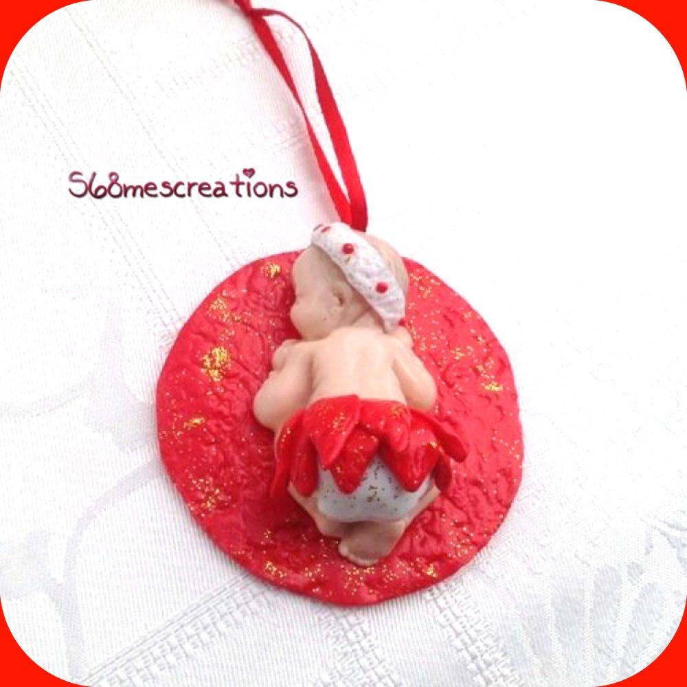 Figurine décoration bébé fimo fille