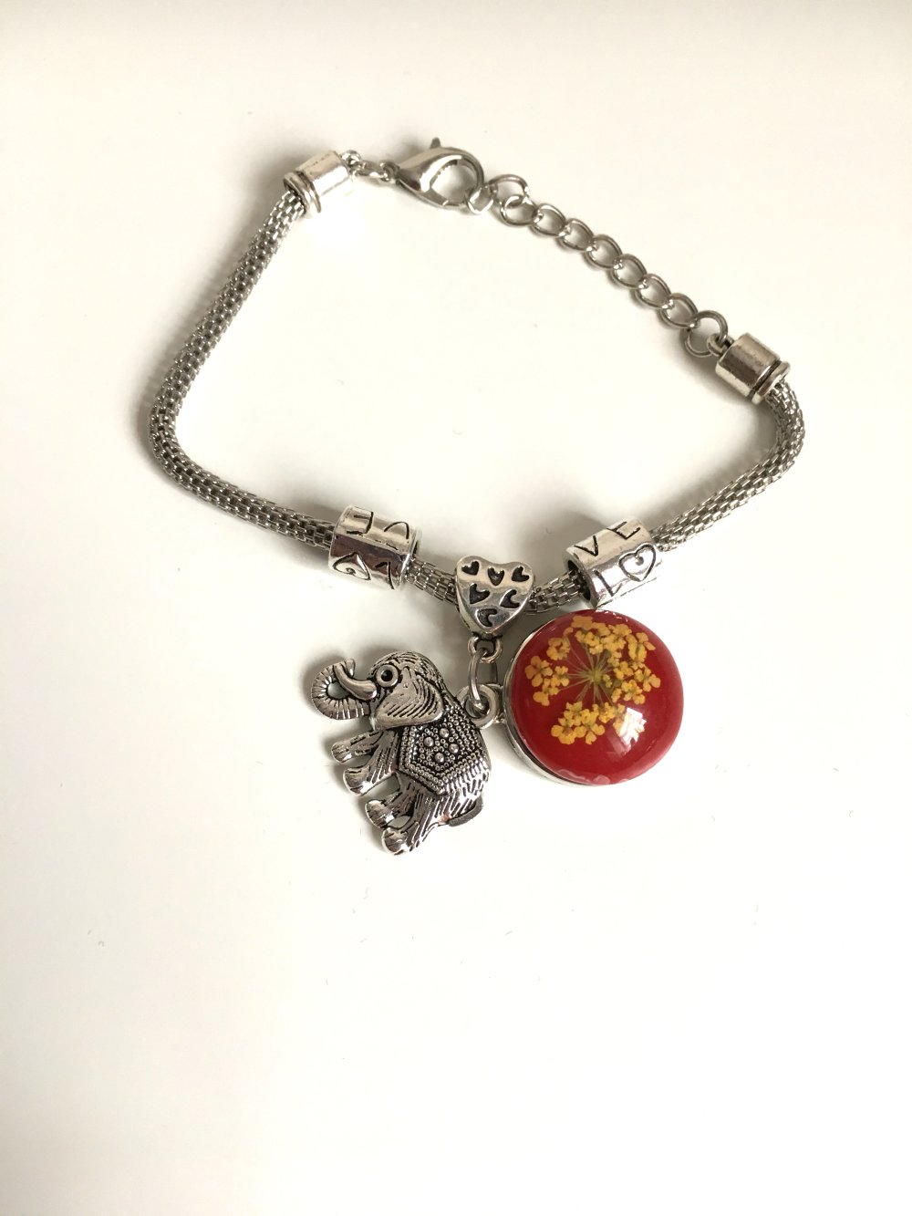 Bracelet charms éléphant boutons-pression