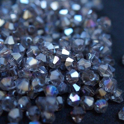 100 toupies bicones cristal 4 mm n12