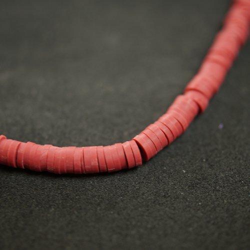 Perles polymeres heishi marron 4 mm