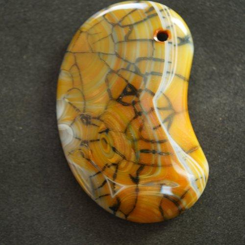 Pendentif gemme agate forme haricot