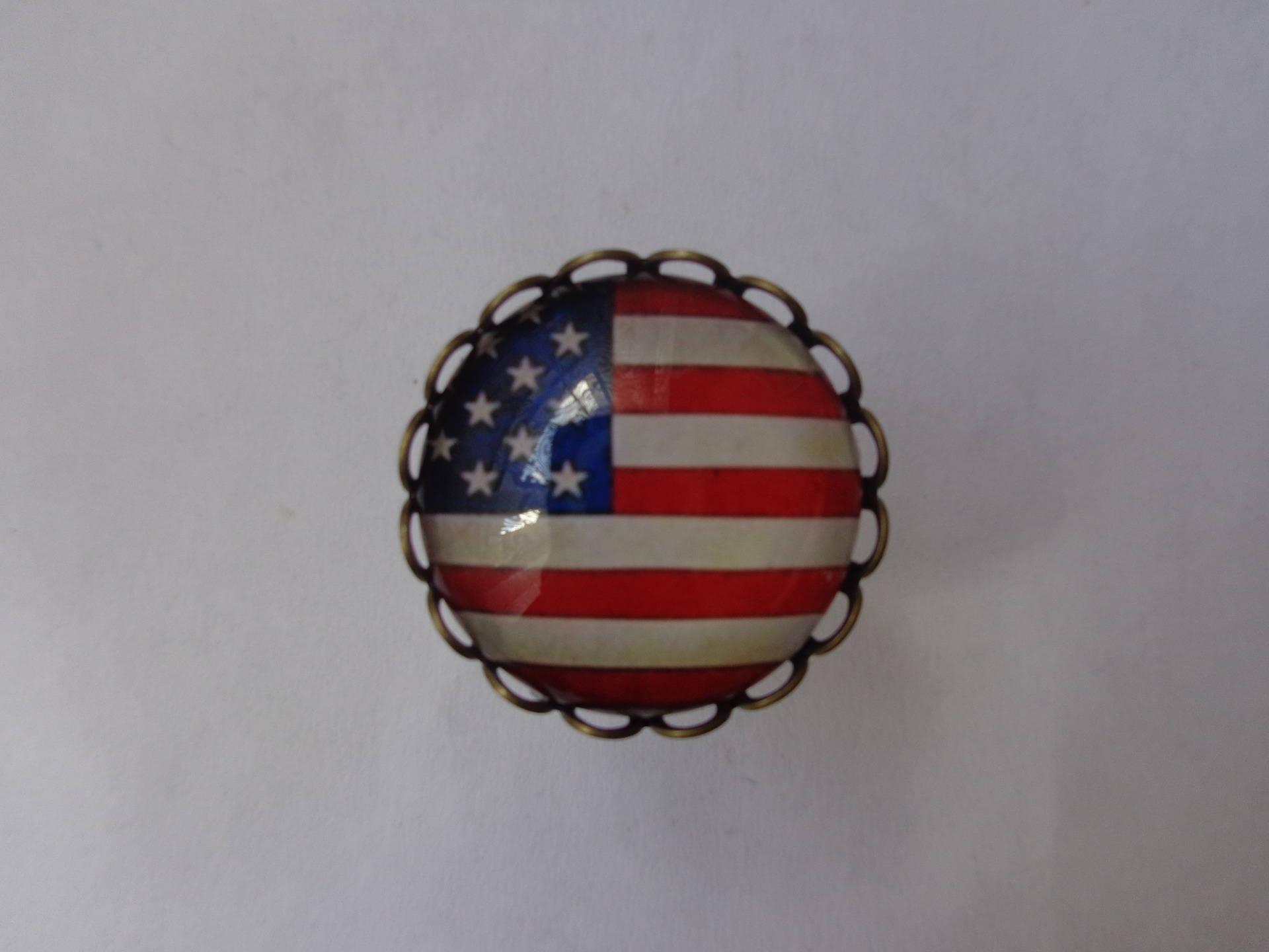 """Bague bronze cabochon verre 20mm thème """"Amérique""""."""