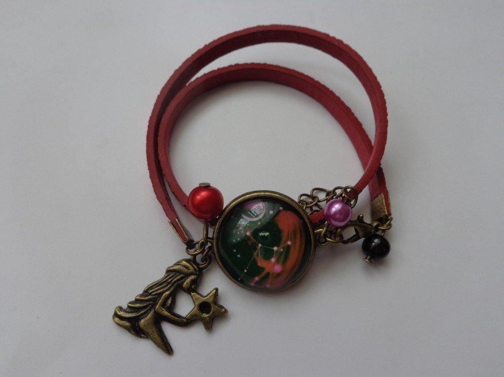 """Bracelet cordon pailleté cabochon bronze verre 20mm thème """"signe astrologique/zodiaque/constellation vierge""""."""
