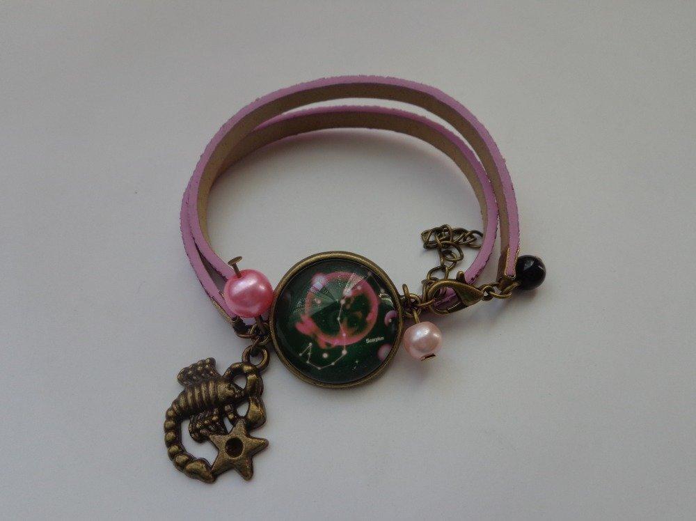 """Bracelet cordon pailleté cabochon bronze verre 20mm thème """"signe astrologique/zodiaque/constellation scorpion""""."""