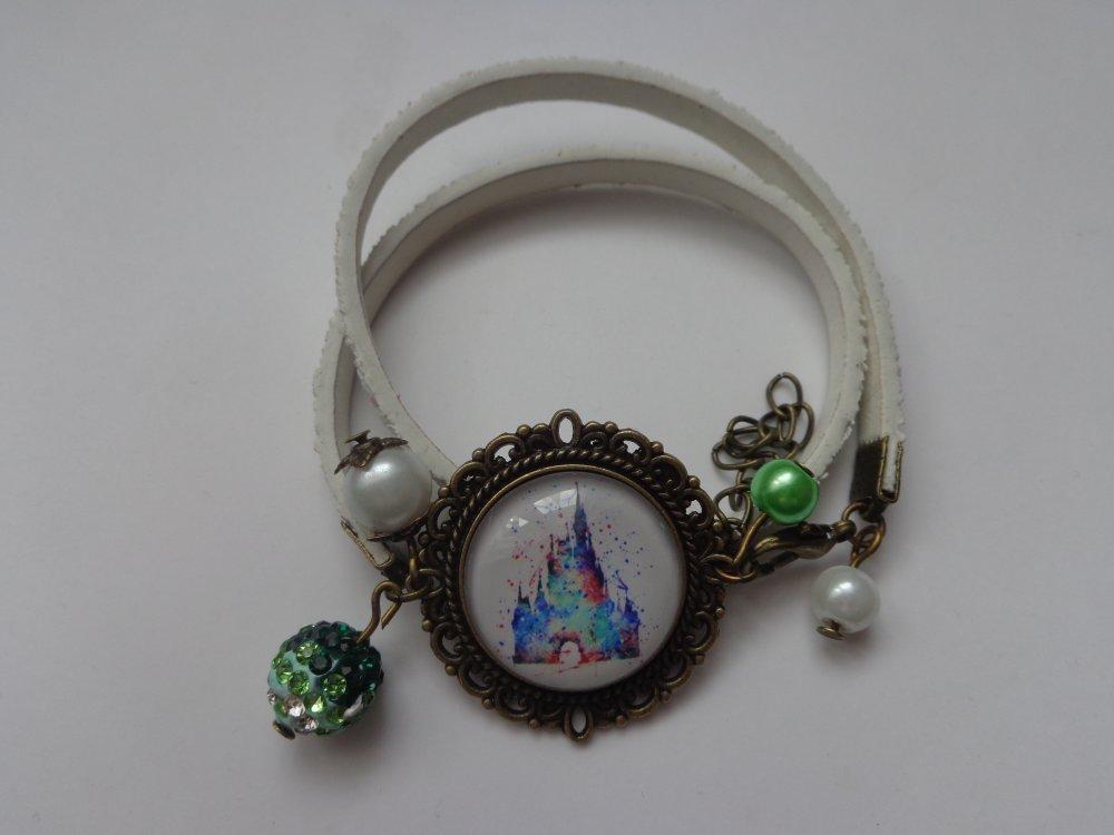 """Bracelet tissu biais cabochon bronze verre 20mm thème """"Disney/Château Belle au bois dormant""""."""