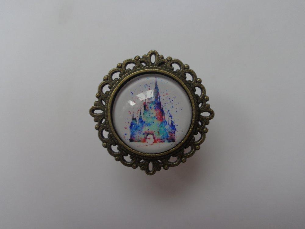 """Bague bronze cabochon verre 20mm thème """"Disney/Château Belle au bois dormant""""."""