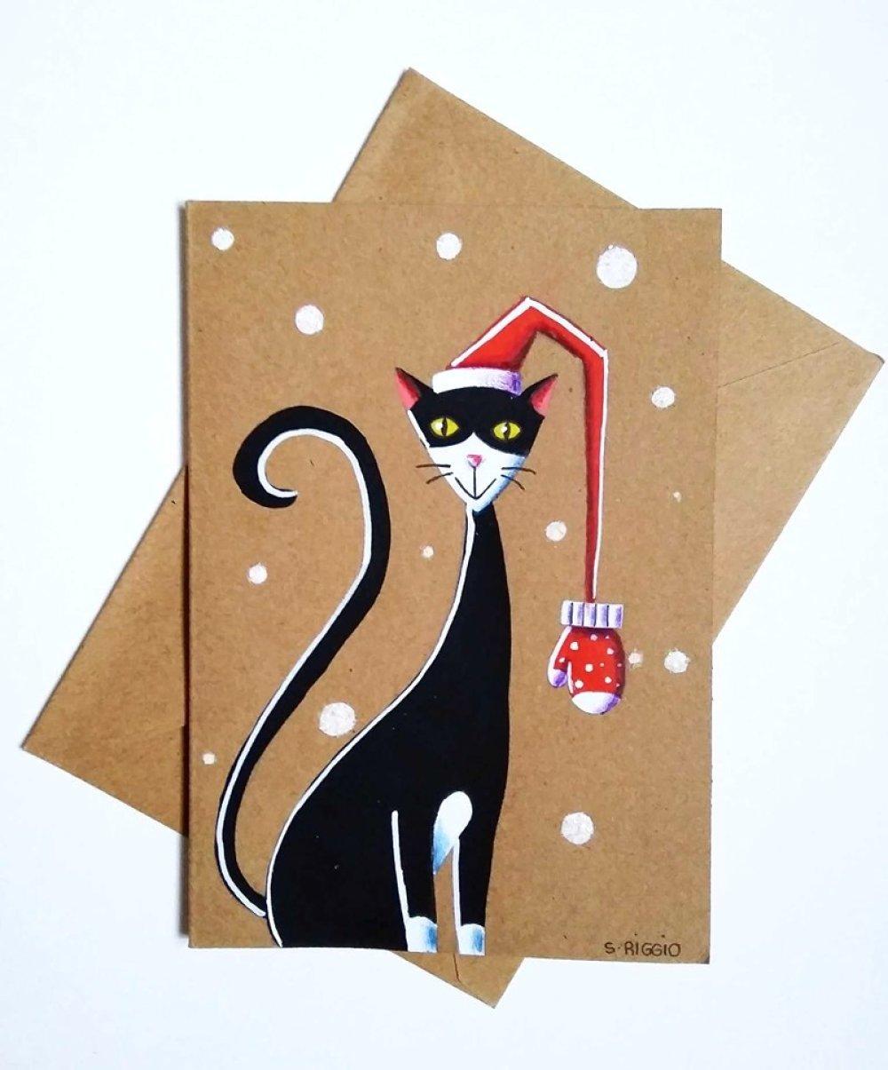 Carte de noël peinte à la main, carte noël chat