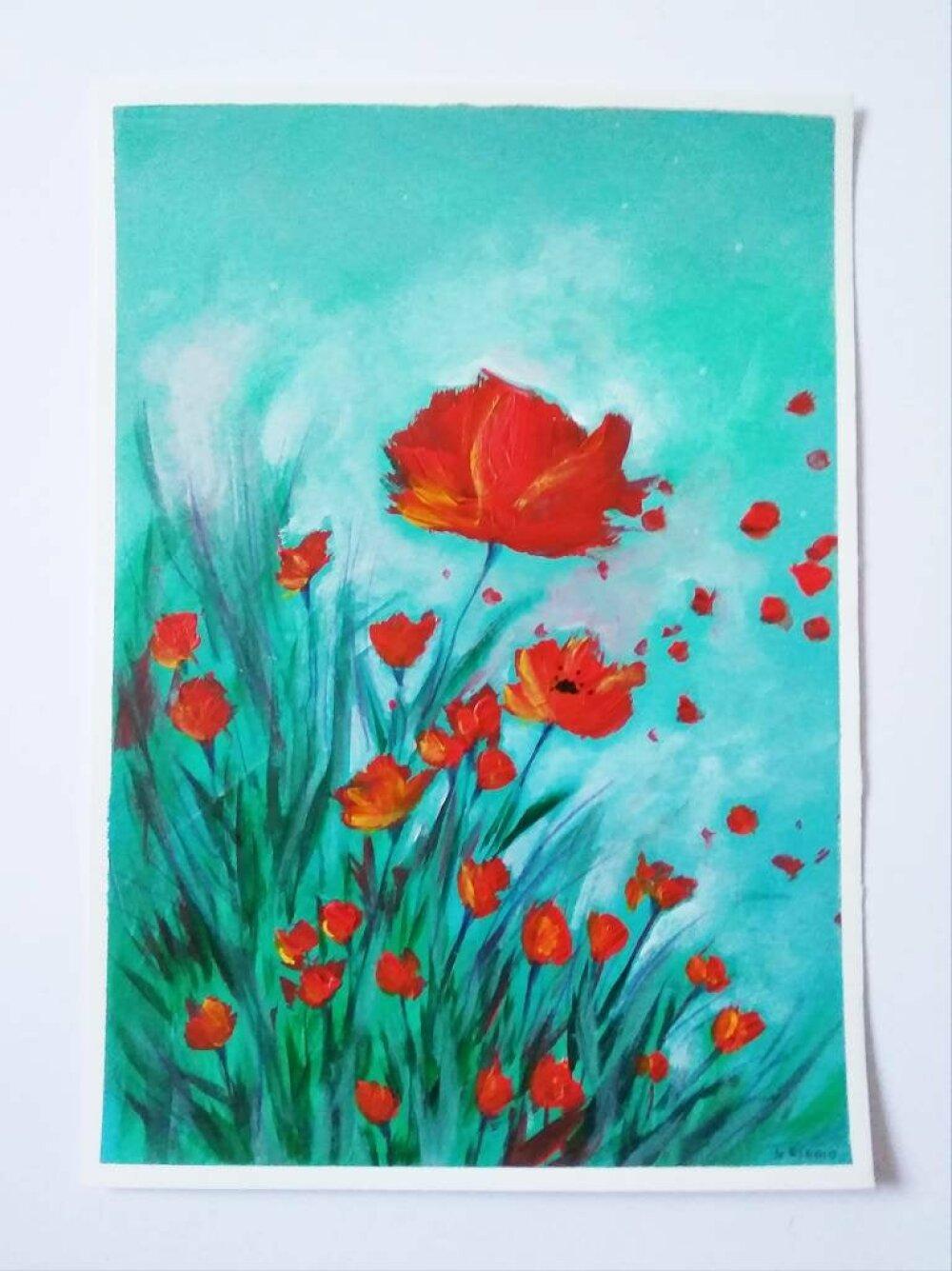 Peinture de coquelicots, acrylique sur papier, décor mural, décoration intérieure, idée cadeau