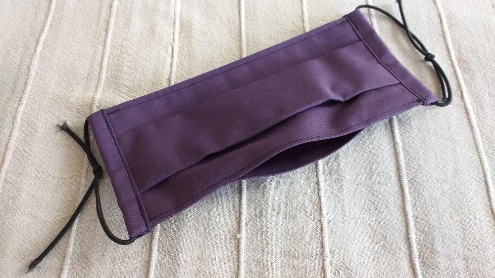 """masque de protection adulte en coton """"violet uni"""" façon AFNOR"""