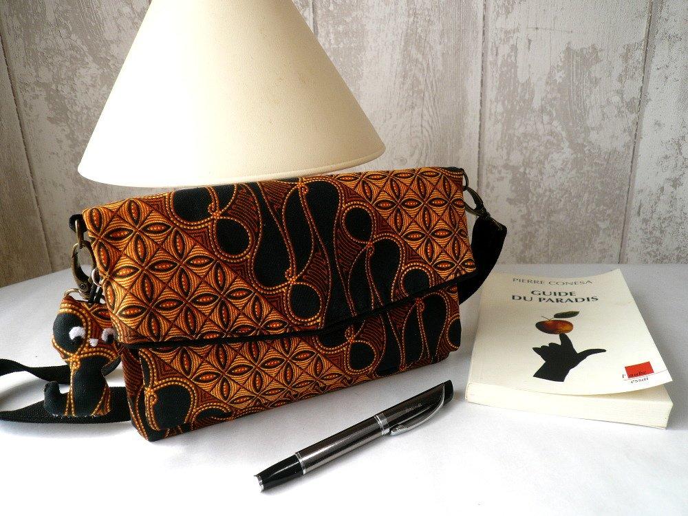 Petit sac compagnon en coton Wax avec bandoulière