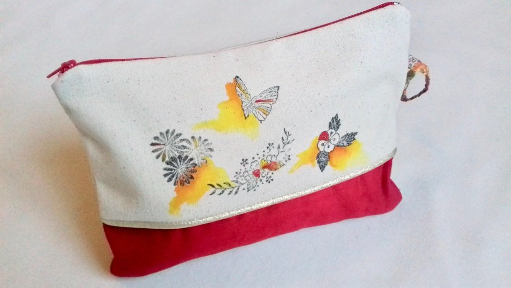 Pochette stylisée inspiration japonaise ! *papillon rouge*