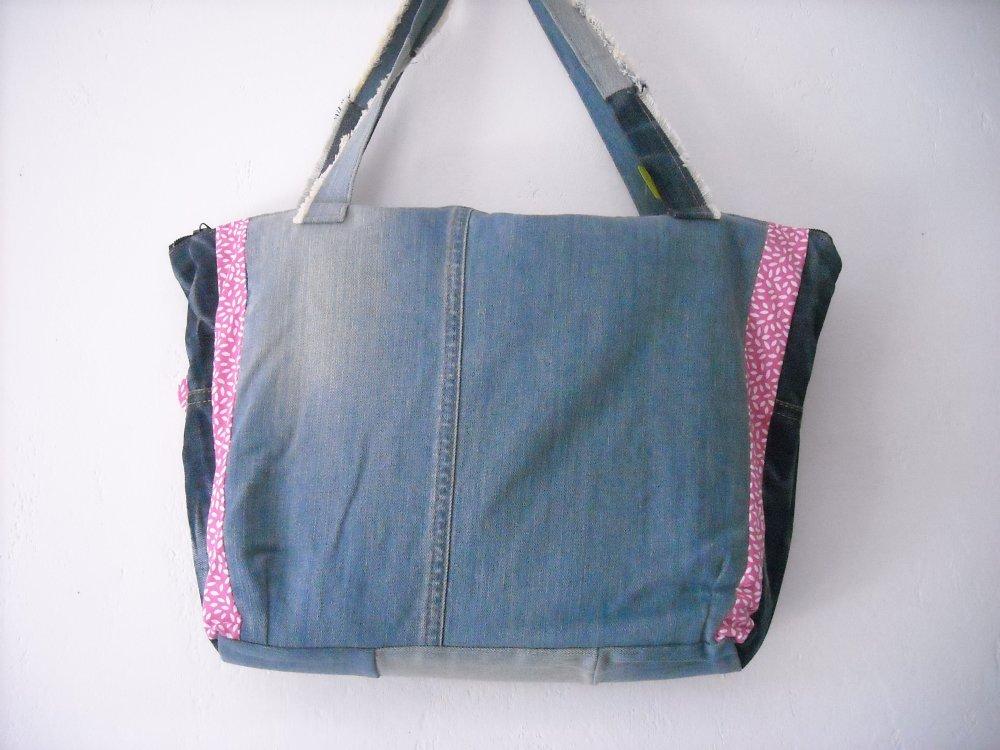 sac en jean recyclé flamant rose