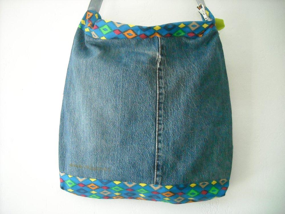 sac en jean recyclé géométrique + porte monnaie